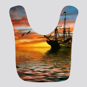 Pirate Ship Polyester Baby Bib