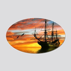 Pirate Ship 20x12 Oval Wall Decal