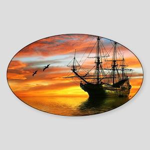 Pirate Ship Sticker (Oval)