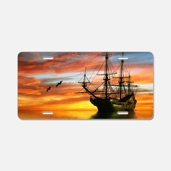 Pirate Ship Aluminum License Plate