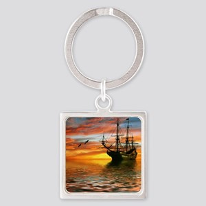 Pirate Ship Square Keychain