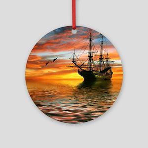 Pirate Ship Round Ornament