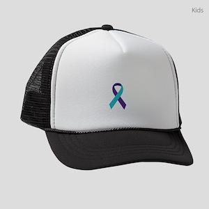 Suicide Awareness Ribbon Kids Trucker hat