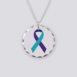 Suicide Awareness Ribbon Necklace Circle Charm