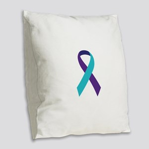 Suicide Awareness Ribbon Burlap Throw Pillow