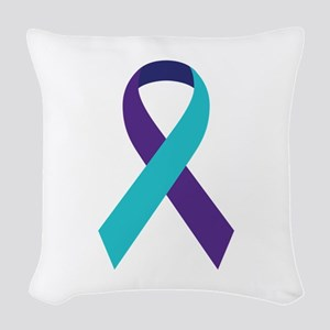 Suicide Awareness Ribbon Woven Throw Pillow