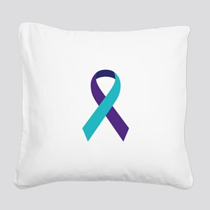 Suicide Awareness Ribbon Square Canvas Pillow
