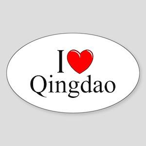 """I Love Qingdao"" Oval Sticker"