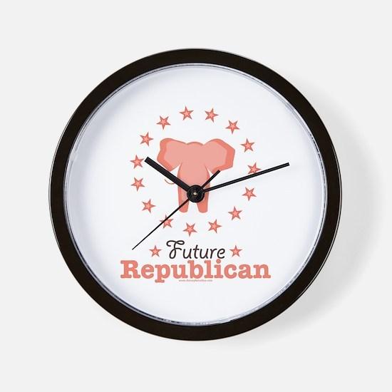 Pink Future Republican Elephant Wall Clock