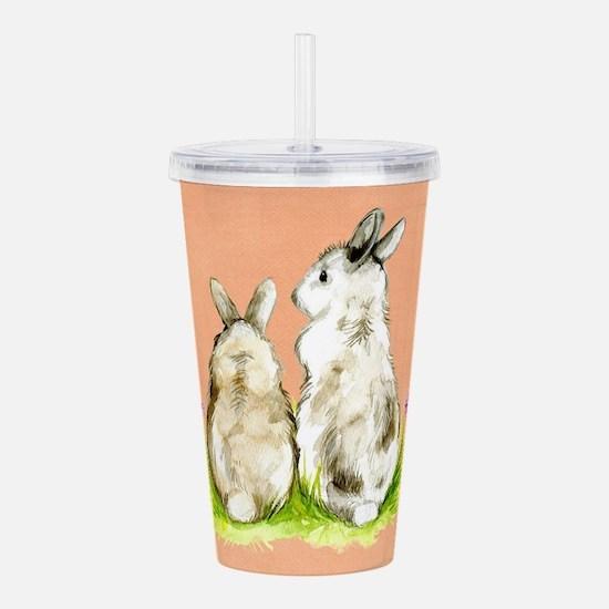 Watercolor Rabbits Acrylic Double-wall Tumbler
