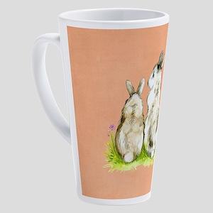 Watercolor Rabbits 17 oz Latte Mug