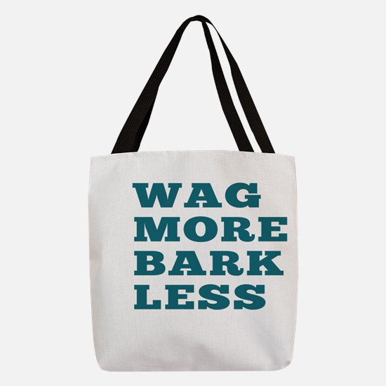 Wag More Bark Less Polyester Tote Bag