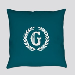 Dark Teal Monogram: Letter G Everyday Pillow