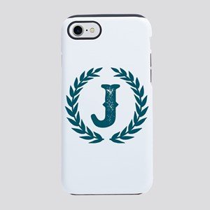 Dark Teal Monogram: Letter J iPhone 8/7 Tough Case