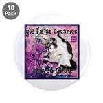 "Cat Aquarius 3.5"" Button (10 pack)"