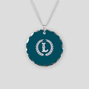 Dark Teal Monogram: Letter L Necklace Circle Charm