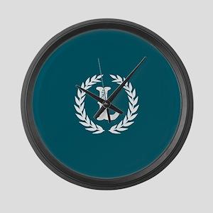 Dark Teal Monogram: Letter L Large Wall Clock