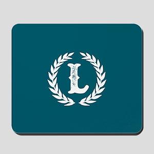 Dark Teal Monogram: Letter L Mousepad
