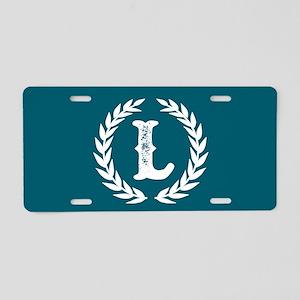 Dark Teal Monogram: Letter Aluminum License Plate