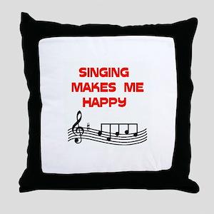 HAPPY SINGER Throw Pillow