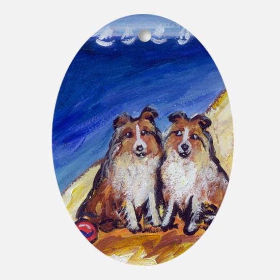SHELTIES at the beach Keepsake (Oval)
