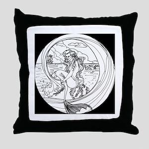 Siren of Mystic Seas Throw Pillow