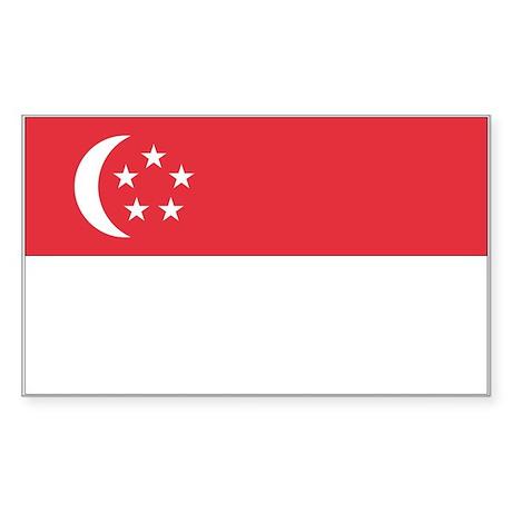 Singapore Country Flag Rectangle Sticker