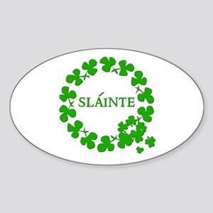 Shamrock Circle SLAINTE Oval Sticker