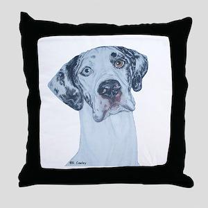 N Merlequin head Throw Pillow