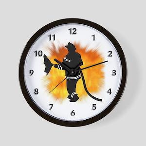 Firefighter Flames Wall Clock