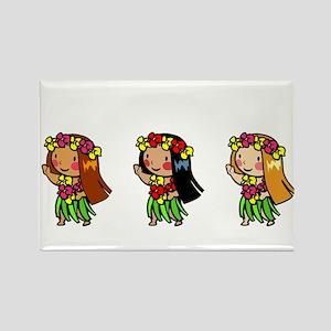 Hula Babes Rectangle Magnet