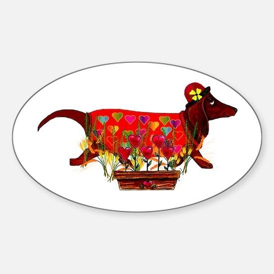 Weiner Dog Valentine Oval Decal