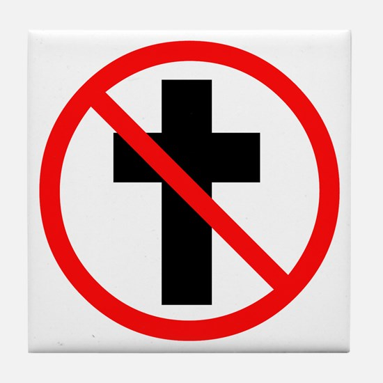 No Christianity Tile Coaster