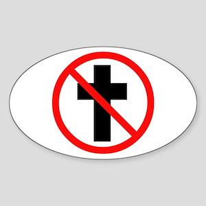 No Christianity Oval Sticker