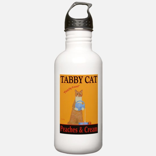 Tabby Cat Peaches and Water Bottle