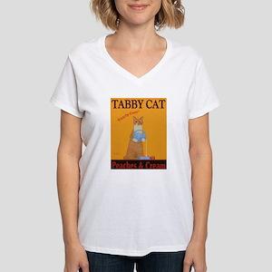 Tabby Cat Peaches and Cream Women's V-Neck T-Shirt