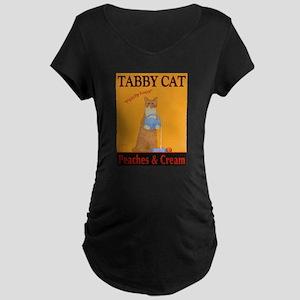 Tabby Cat Peaches and Cream Maternity Dark T-Shirt