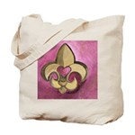 Valentine Fleur De Lis with Heart Tote Bag