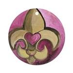 Valentine Fleur De Lis with Heart Ornament (Round)