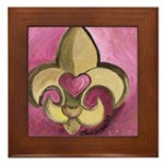 Valentine Fleur De Lis with Heart Framed Tile