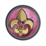 Valentine Fleur De Lis with Heart Wall Clock