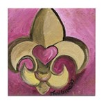 Valentine Fleur De Lis with Heart Tile Coaster