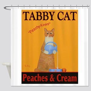 Tabby Cat Peaches and Cream Shower Curtain