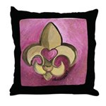 Valentine Fleur De Lis with Heart Throw Pillow