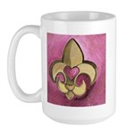 Valentine Fleur De Lis with Heart Large Mug