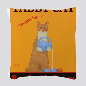 Tabby Cat Peaches and Cream Woven Throw Pillow
