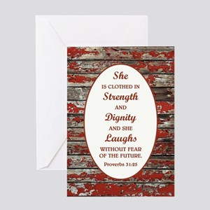 PROVERBS 31:25 Greeting Cards