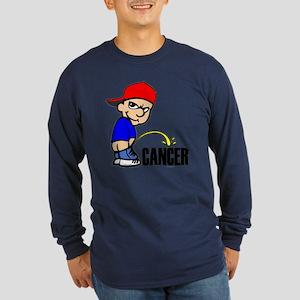 Piss On Cancer Long Sleeve Dark T-Shirt