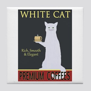 White Cat Coffee Tile Coaster