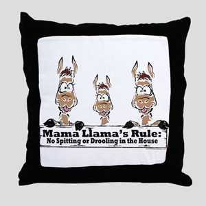 Mama Llamas Rules Throw Pillow